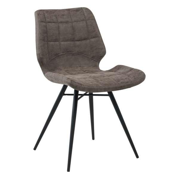 chaise design rembourr e inspiration vintage avec pieds en m tal noir iberis 4