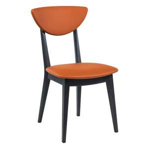 Chaise contemporaine fabriquée en France en bois et tissu Spicy mix scoop avec dossier incurvé - Lilly