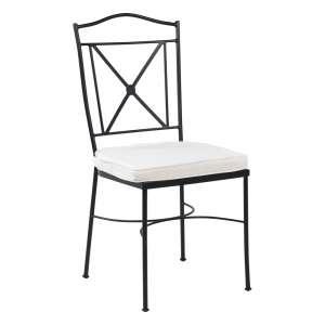 Chaise de jardin provençale en acier noir coussin blanc - Pisa