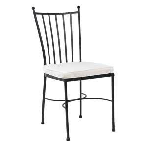 Chaise style provençal en acier noir avec coussin blanc - Venecia