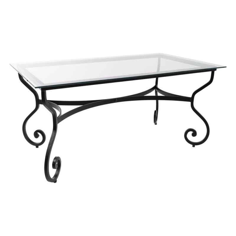 Table de jardin provençale plateau verre avec pieds en acier ...