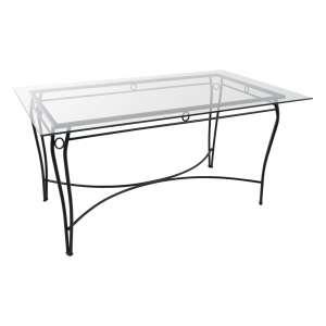 Table provençale en verre trempé et métal noir - Pisa