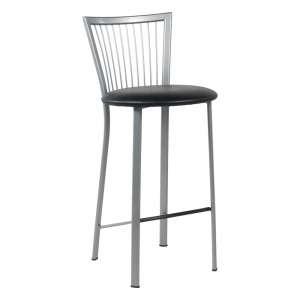 Tabouret snack avec assise noire ronde rembourrée et pieds et dossier à barreaux en métal - Fanny