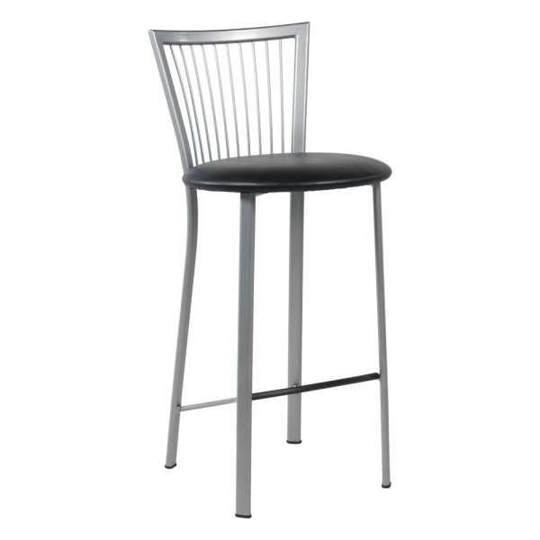 Tabouret snack avec assise ronde rembourrée et pieds et dossier à barreaux en métal - Fanny