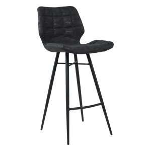 Tabouret design inspiration vintage coque matelassée patinée noir mat et pieds en métal noir - Impia