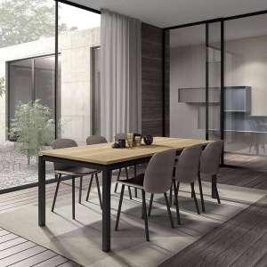 Table de salle à manger en stratifié imitation bois et pieds en métal noir - Vicenza