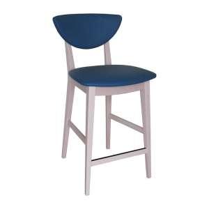 Tabouret snack tendance assise bleue et pieds en bois massif blanchi made in France - Lilly)