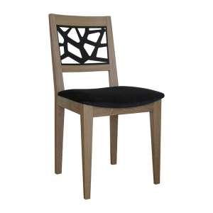 Chaise de séjour française en tissu et bois massif - Joana