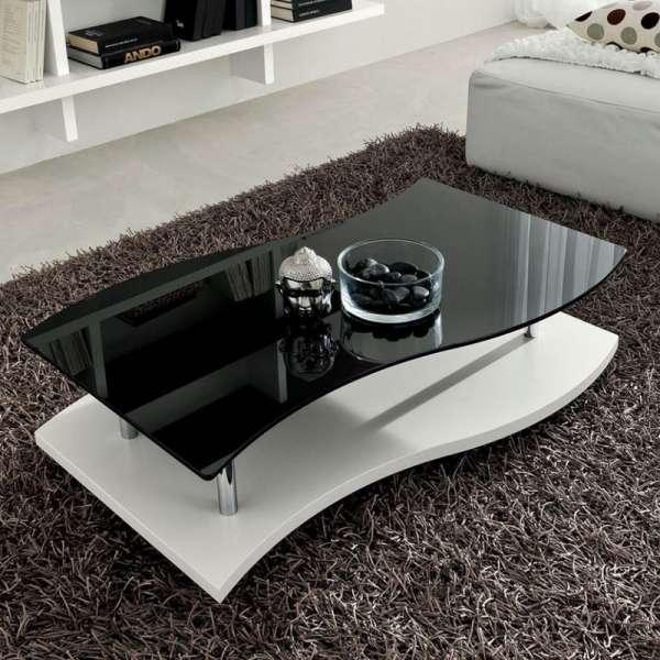 Table basse moderne bicolore en verre - Gaia