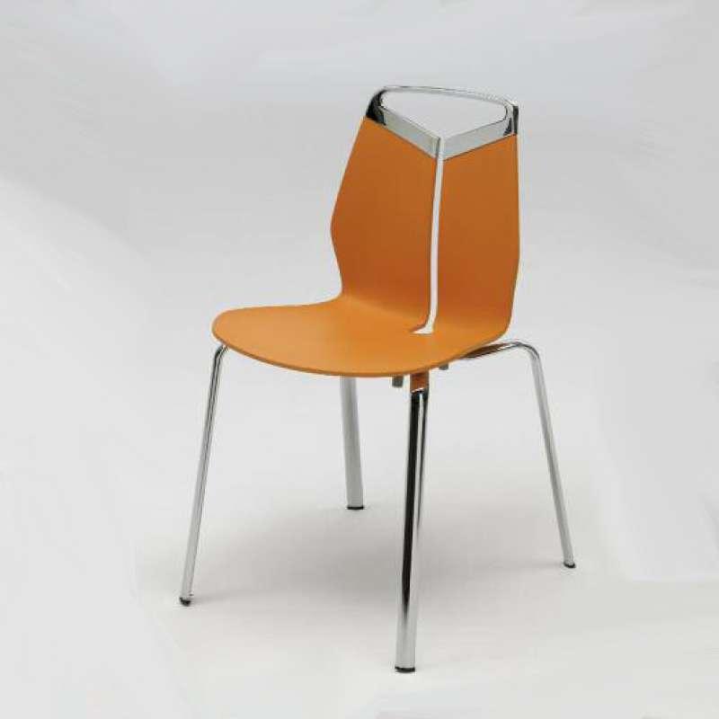 Chaise De Designer Coque Polypropylne Orange Pieds En Mtal