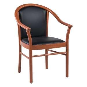Fauteuil bridge de salon en bois avec assise et dossier noirs rembourrés - Manuela
