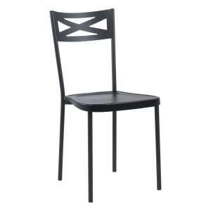 Chaise de cuisine contemporaine en métal assise en polypropylène noir - Kelly