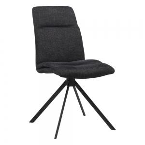 Chaise pivotante en tissu gris foncé rembourrée avec pieds obliques - Jacynthe
