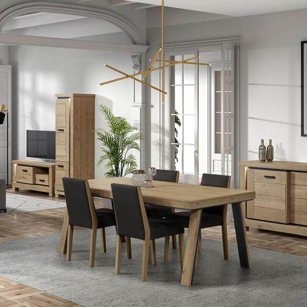 Table de salle manger en bois avec pieds obliques - Salle a manger en bois ...