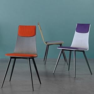 Chaise italienne design tricolore avec pieds en métal - Amélie