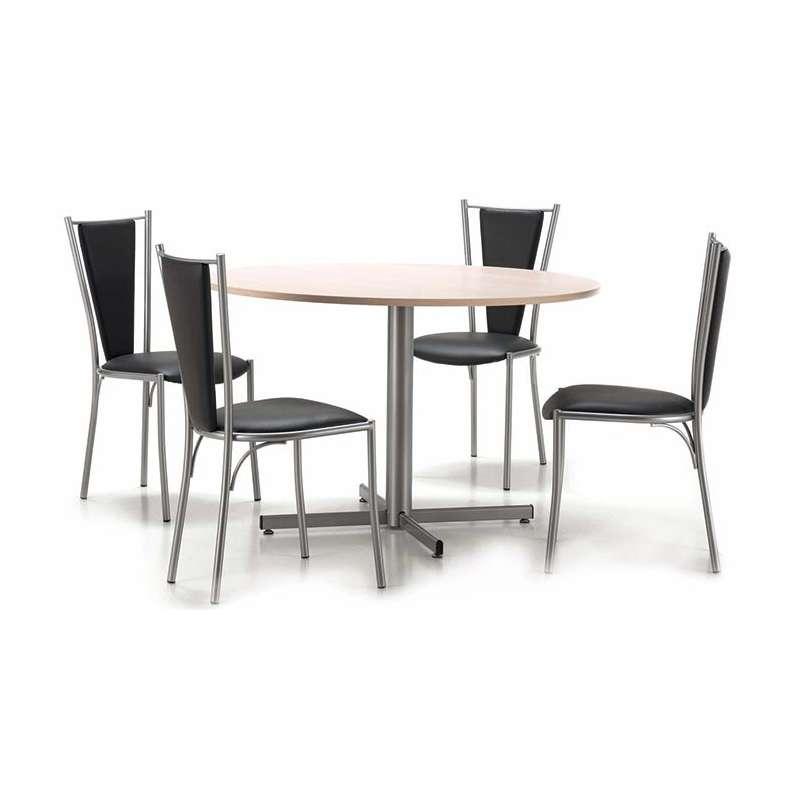 Table de cuisine ronde en m lamin et m tal voyager 4 - Tables de cuisine rondes ...