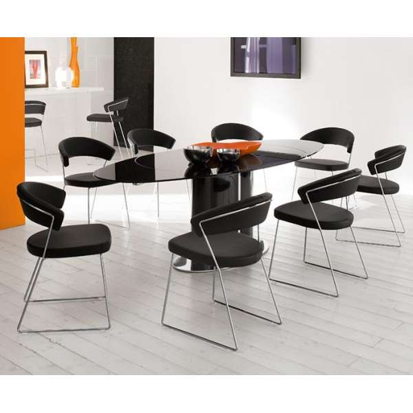 Chaise design en métal & cuir New-York Calligaris® - 4
