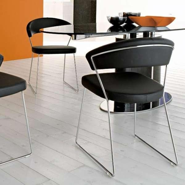 Chaise design en métal & cuir New-York Calligaris® - 6