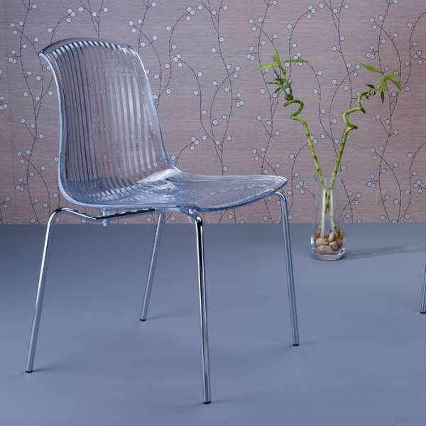 Chaise moderne en polycarbonate et métal - Allegra