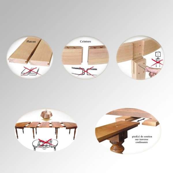 Table en bois carrée Moderne avec allonges - 4