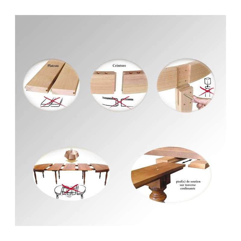 table en bois ovale moderne avec allonges 4 - Pied De Table En Bois Massif