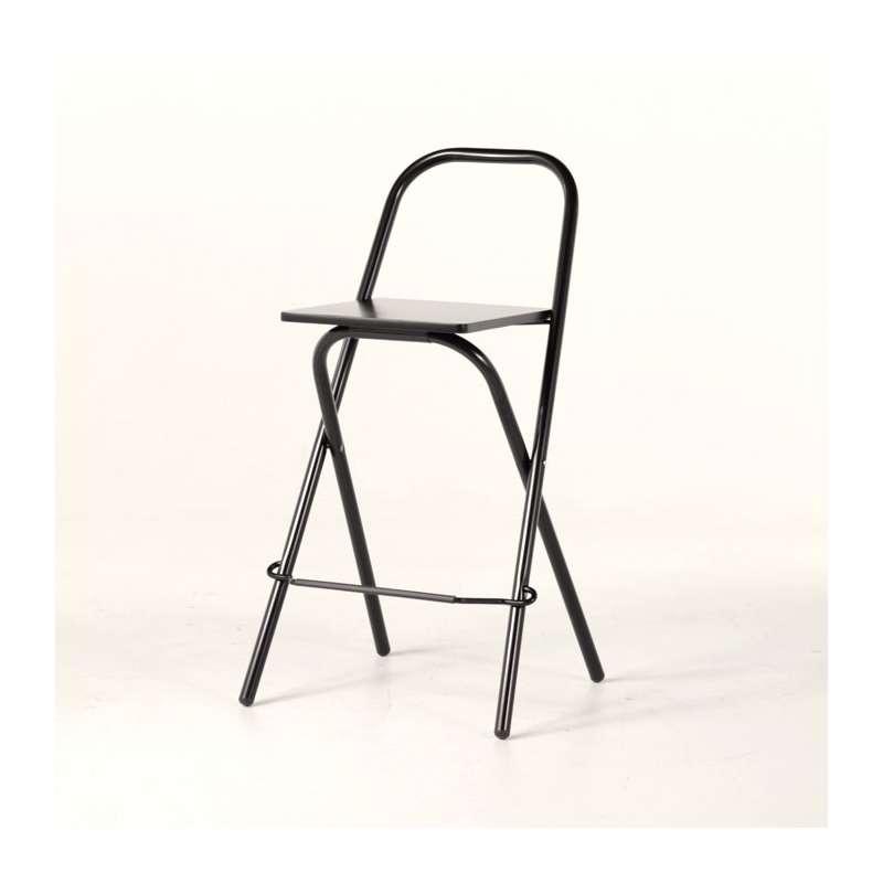 Tabouret snack pliant en m tal avec dossier simone 4 for Chaise 63 cm assise