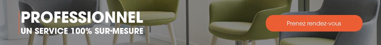 service sur-mesure pour professionnel de prise de rendez-vous en magasin ou sur notre boutique en ligne www.4-pieds.com - mobilier de salle d'attente et de salle d'accueil.