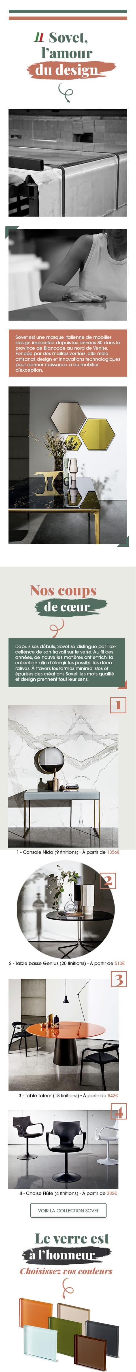 Présentation de notre partenaire Sovet, marque italienne de mobilier design.