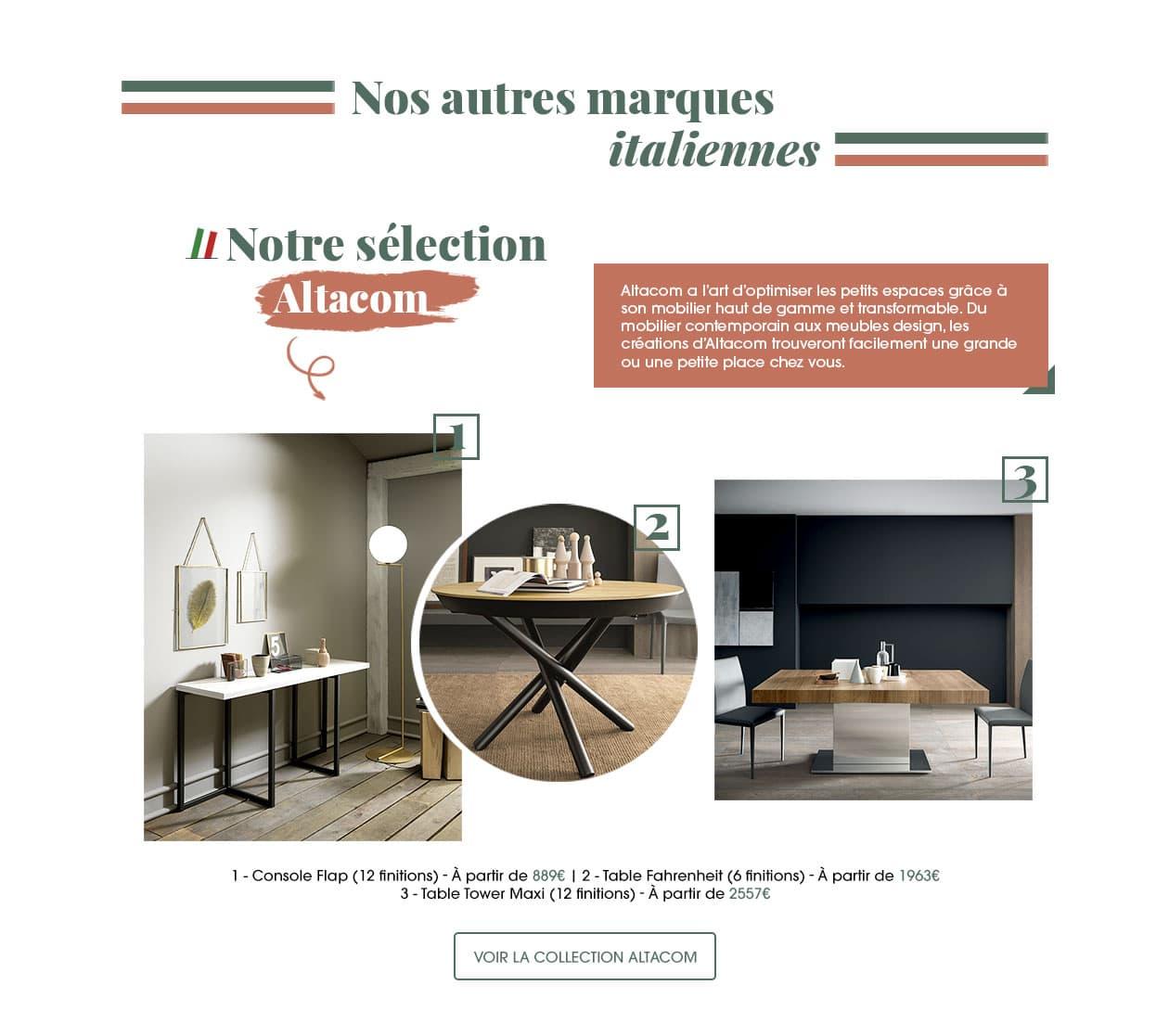 Découvrez aussi d'autres marques au mobilier contemporain et design. Altacom a l'art d'optimiser les petits espaces grâce à son mobilier haut de gamme et transformable.