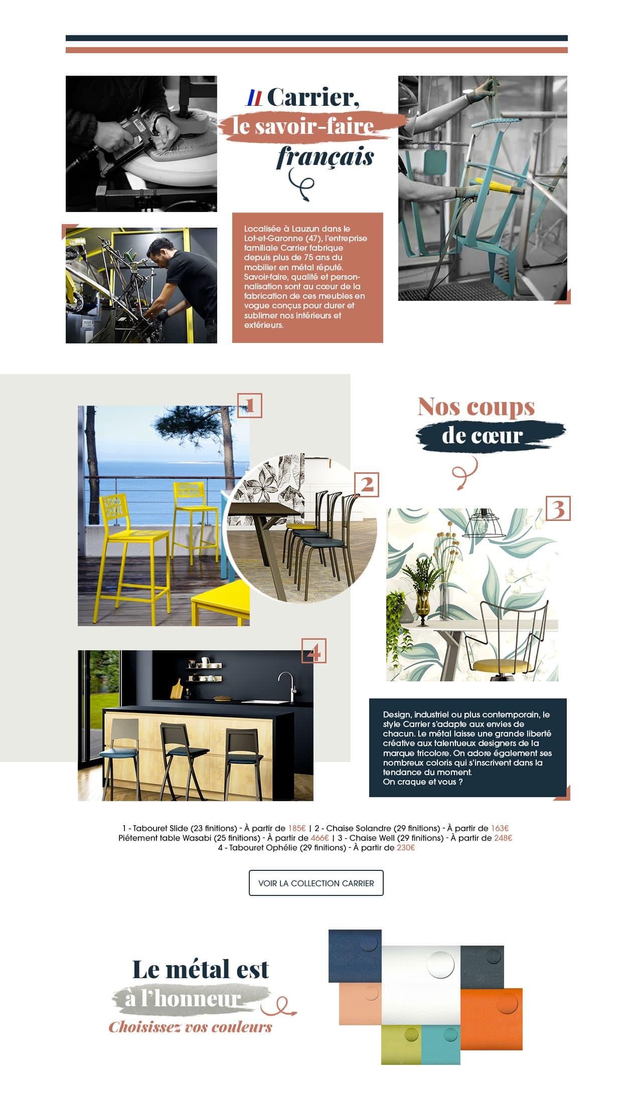 Présentation de notre partenaire Carrier, fabricant de tables, chaises et tabourets en métal made in France depuis plus de 75 ans.