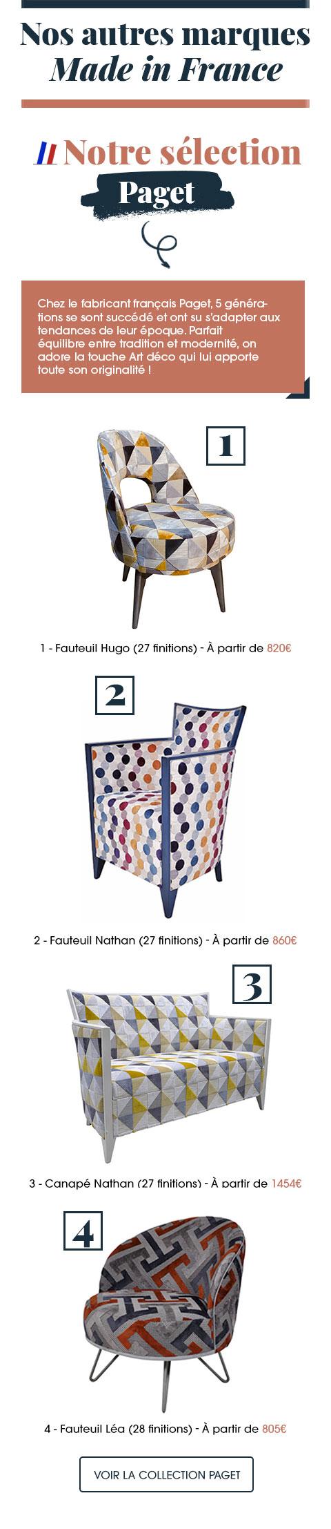 Issue d'une lignée de 5 générations, la marque Paget souhaite moderniser le mobilier de style.