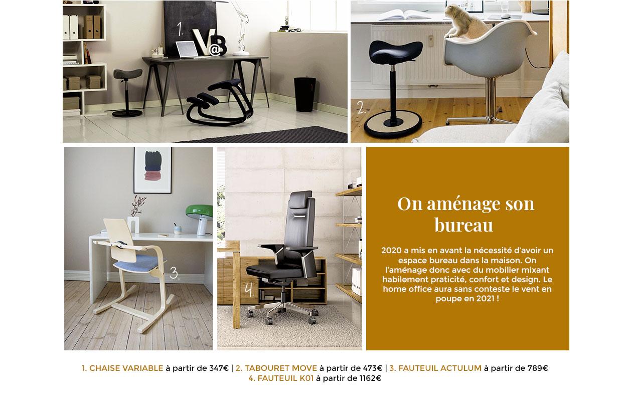 2020 a mis en avant la nécessité d'avoir un espace bureau dans la maison. On l'aménage donc avec du mobilier mixant habilement praticité, confort et design.